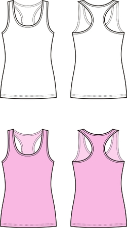 Vector illustration of women s singlet  Front and back views Vector