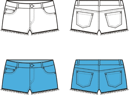Vector illustration of jeans shorts  Front and back views