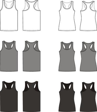 t shirt model: Illustrazione vettoriale di uomini e di donne s s canottiere anteriore e posteriore I colori differenti