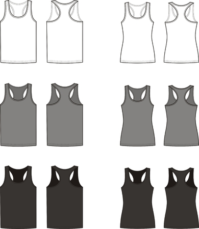 Vector illustration of men s and women s singlets  Front and back views  Different colors Illustration
