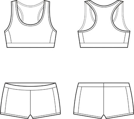 Ilustración vectorial de la mujer s el deporte sujetador ropa interior y pantalones cortos frontal y espalda