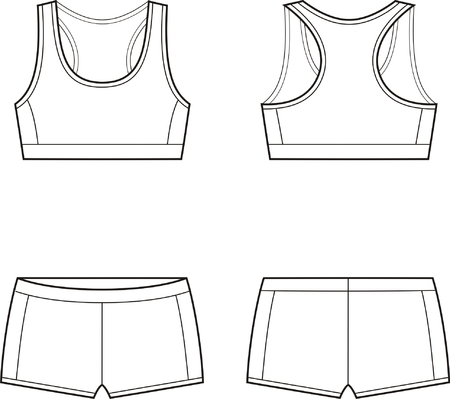 woman bra: Vector illustration of women s sport underwear  Bra and shorts  Front and back views