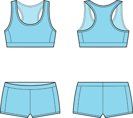 cotton panties: Vector illustration of women s sport underwear  Bra and shorts  Front and back views