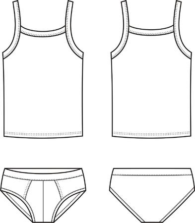 back views: Vector illustration of men s underwear set  Singlet and pants  Front and back views Illustration