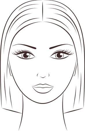 contorno: Ilustraci�n vectorial de una cara femenina Vectores