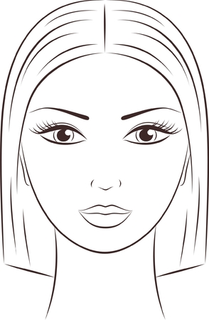 outline women: Vector illustration of a female face
