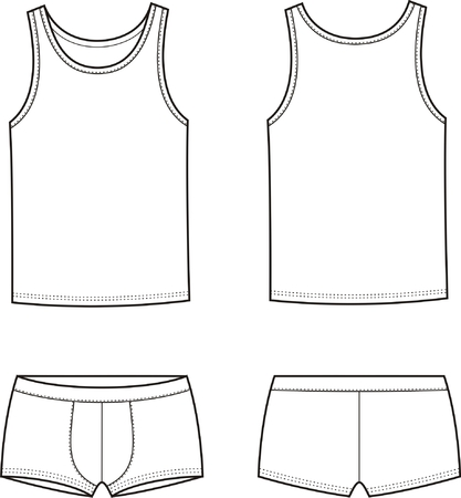underclothes: Vector illustration of men s underwear set  Singlet and pants  Front and back views Illustration