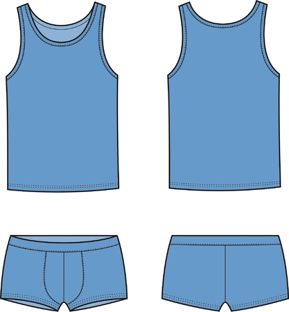 Vector illustration of men s underwear set  Singlet and pants  Front and back views Illustration