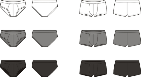 Vector illustration  Set of men s underpants  Front and back views  Different colors  white, grey, black