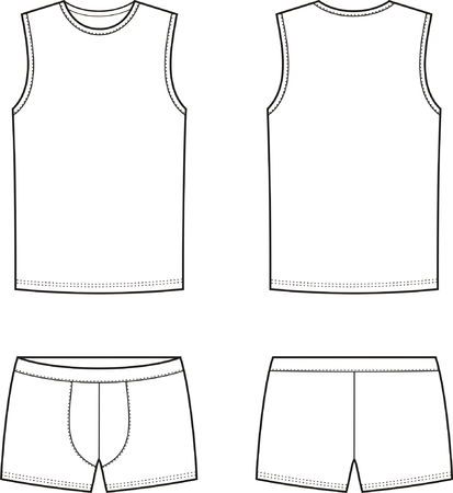 underpants: Vector illustration of men s underwear  Singlet and pants  Front and back views