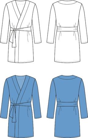 back belt: Ilustraci�n vectorial de los hombres s albornoz frontal y espalda