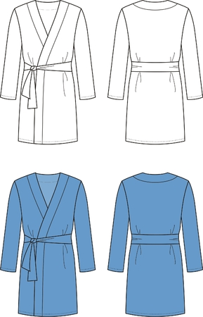 Vector illustration of men s bathrobe  Front and back views Vector