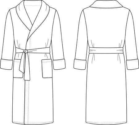men s: illustration of men s bathrobe  Front and back views