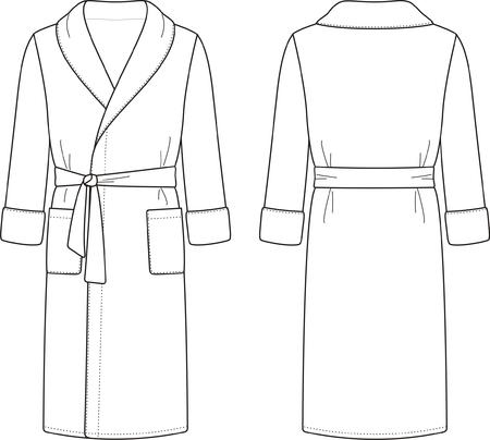 illustration of men s bathrobe  Front and back views