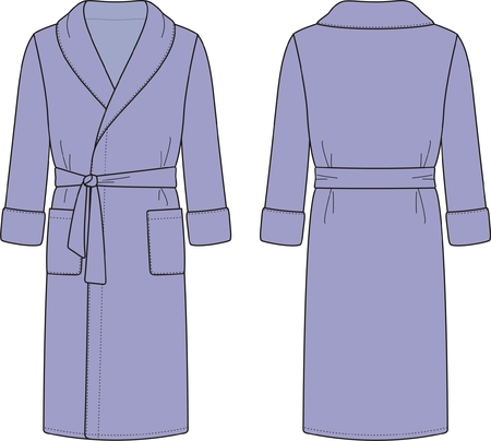 illustration of men s bathrobe  Front and back views Vector