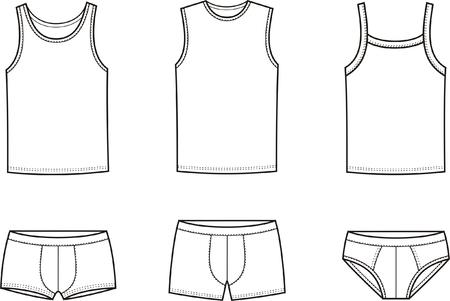 男性の下着一重項の図とズボン