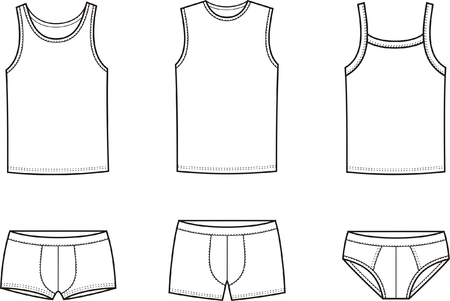 briefs: illustration of men s underwear  Singlet and pants Illustration