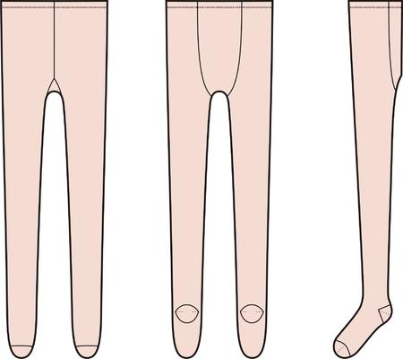 womenīŋŊs: illustration of women s tights  Front, back, side views