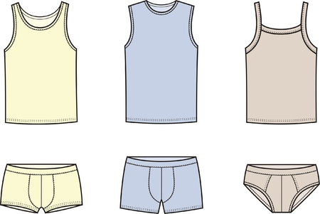 illustration of men s underwear  Singlet and pants Illustration