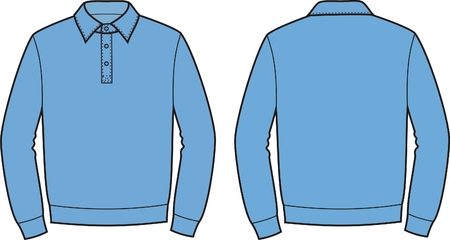 men s: Vector illustration of men s polo jumper  Front and back views