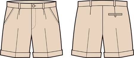 pocket size: Vector illustration of men s shorts  Front and back views