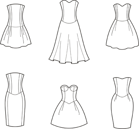 seam: Vector illustration of women s dresses