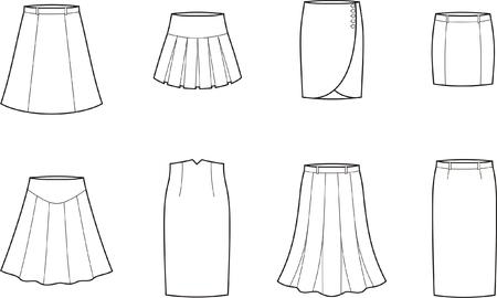 pleat: Vector illustration  Set of skirts
