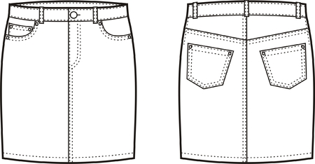 Vector illustration of women s jeans skirt  Front and back views Vector