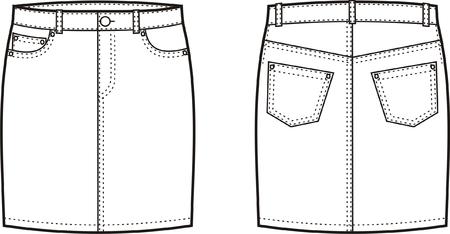 Vector illustration de jeans femmes de jupe avant et arrière point de vue
