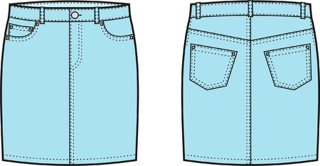 jeans skirt: Vector illustration of women s jeans skirt  Front and back views