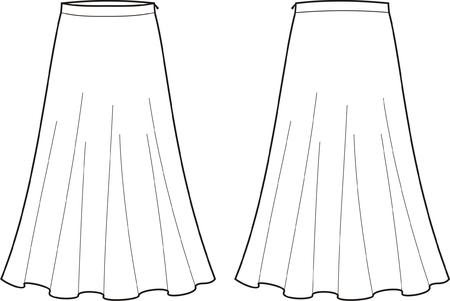 Ilustración vectorial de las mujeres s largo del frente de la falda y vistas traseras