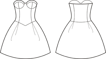 Vector illustration of women s dress  Front and back views
