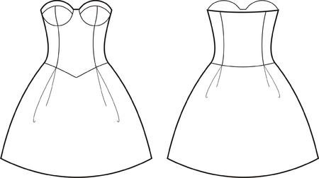 womenīŋŊs: Vector illustration of women s dress  Front and back views