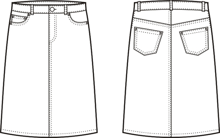 jupe jeans: Vector illustration de jeans femmes de jupe avant et arri�re point de vue Illustration