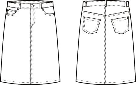 denim skirt: Vector illustration of women s jeans skirt  Front and back views