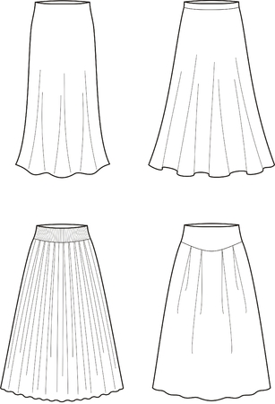 pleat: Vector illustration of women s long skirts Illustration