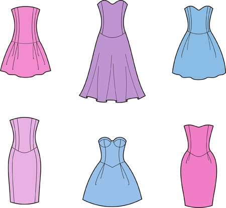 illustration of women s dresses Vector