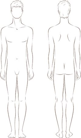 Vector illustration of male fashion silhouette  Front and back views