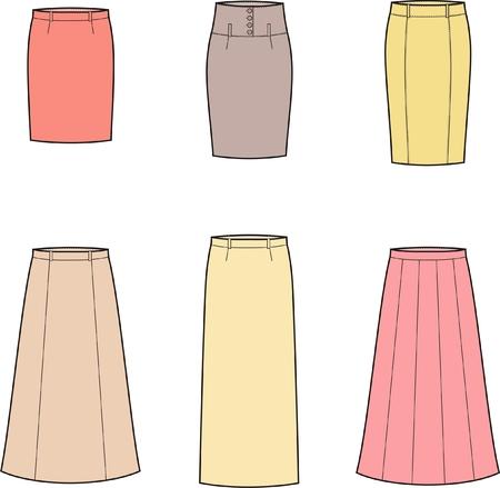 skirts: Vector illustration of women s business skirts