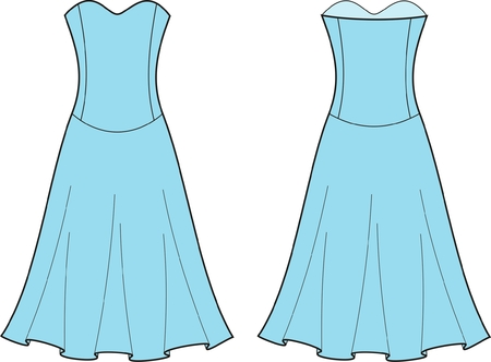 Vector illustration of women s dress  Front and back views Vector