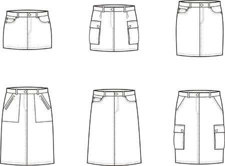 skirts: Vector illustration of women s sport skirts
