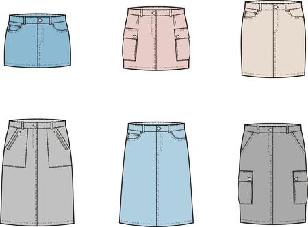 denim skirt: Vector illustration of women s sport skirts