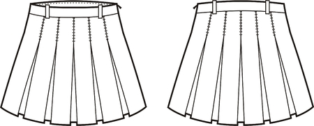 Vector illustration of women s skirt  Front and back views