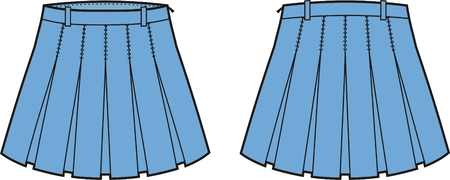 pleat: Vector illustration of women s skirt  Front and back views
