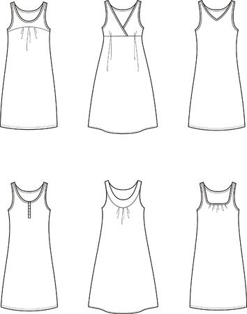 Vector illustration of women s summer dresses Illustration