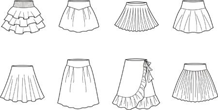 pleat: Vector illustration of women s skirts Illustration