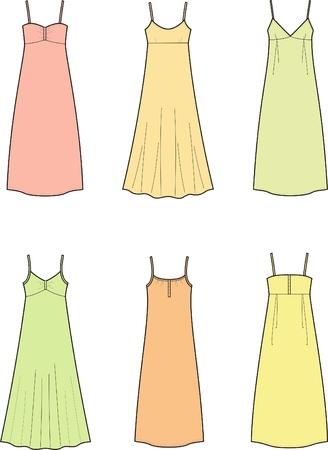 Vector illustration of women s dresses
