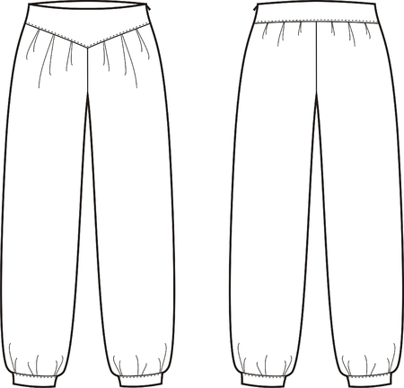 outline women: Vector illustration of women s pants  Front and back views