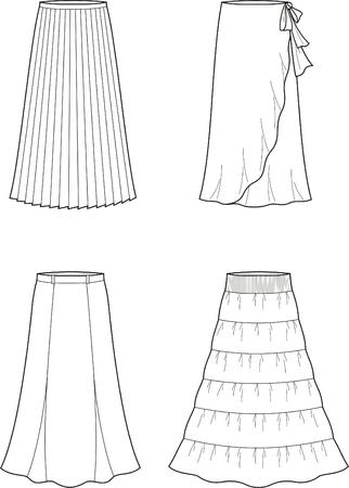 skirts: Vector illustration of women s long skirts Illustration