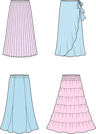 skirt: Vector illustration of women s long skirts Illustration